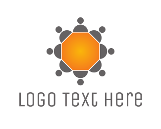 Outsourcing - Hexagonal Conferewce Table logo design