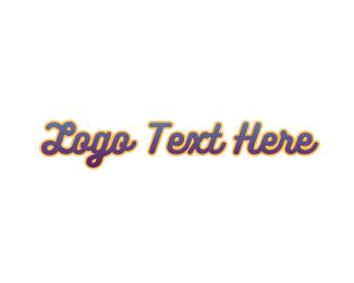 Text - Retro Gradient Text logo design