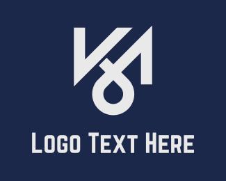 Letter K - K & M logo design