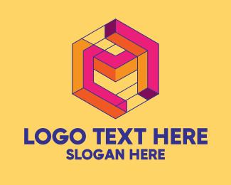 Printing Shop - 3D Maze Letter M  logo design