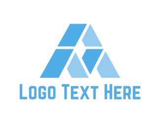 Iceberg - Blue Letter A logo design