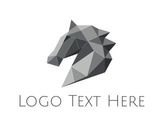 Luxury - Grey Geometric Horse logo design