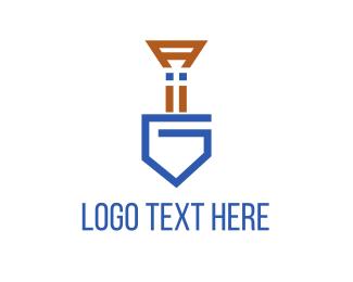 Dig - Blue Shovel logo design