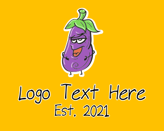 Cartoon - Cartoon Eggplant Veggie logo design