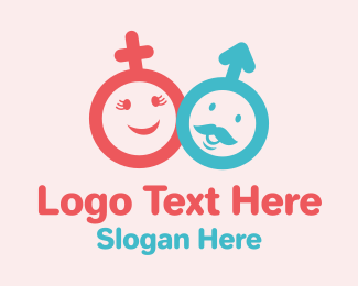 Symbols - Woman & Man Cartoon Symbol logo design