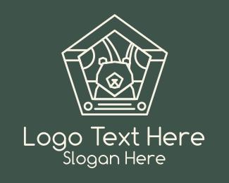 Pentagon - White Pentagon Bear Badge logo design