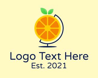 World - Orange Citrus World logo design