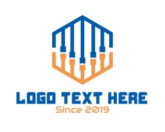 Dj - Abstract DJ Cords Hexagon logo design