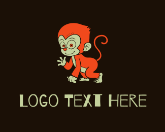 Smiling - Orange Monkey Cartoon logo design