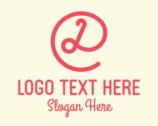 Curly - Pink Curly Letter D logo design
