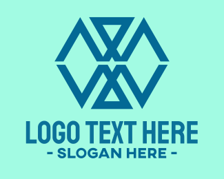 Reflect - Blue Triangle Lines logo design