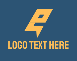 Lightning - Electric Letter E logo design
