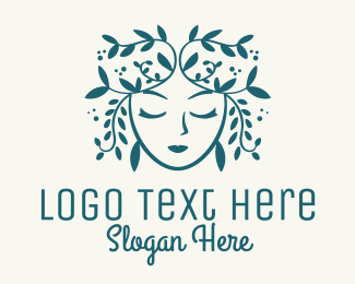 Skincare - Blue Leafy Wreath Woman logo design