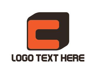 Cube - Orange Letter C logo design