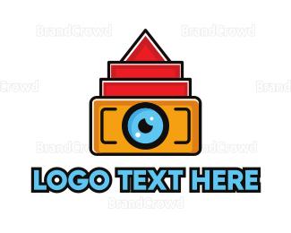 Cameraman - Geometric Digital Camera logo design
