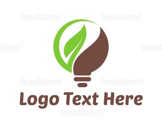 Led - Leaf Bulb logo design