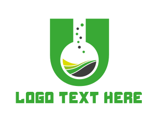 Test Tube - Chemical Letter U logo design