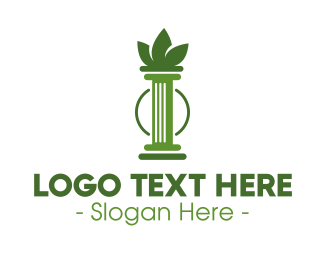 Doric - Green Cannabis Column Letter I logo design