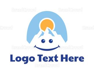 Iceberg - Happy Mountain Sun logo design