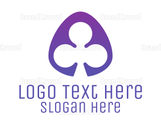 Fortune - Violet Clover Leaf Badge logo design