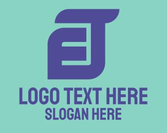 Connection - Blue Connected E J logo design