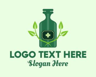 Multivitamins - Green Natural Medicine Bottle logo design
