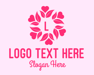 Beauty Vlog - Pink Flower Lettermark logo design