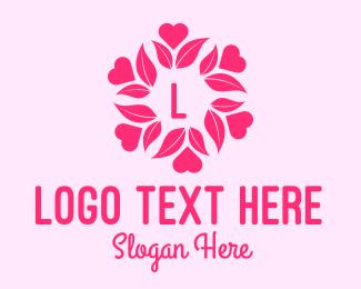 Heart - Pink Flower Lettermark logo design