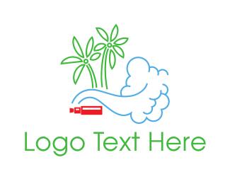 Coconut Tree - Tropical Vapes logo design