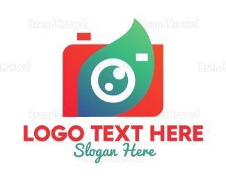 Camera Rental - Modern Leaf Camera logo design