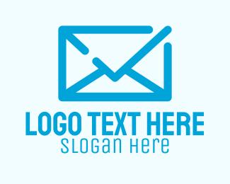 Address - Blue Mail Check logo design