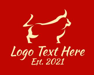Brushstroke - Oriental Brushstroke Bull logo design