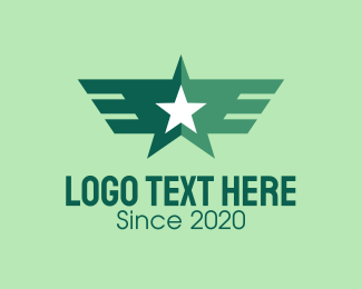 Pilot Training - Green Star Wings logo design