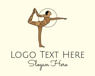 Gymnast - Female Gymnast Yoga Dance logo design