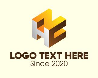 Block - 3D Block HNC logo design