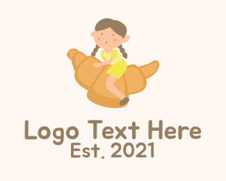 Youngster - Girl Mascot Croissant  logo design