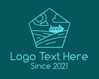 Cruise Ship - Line Art Cruise Ship logo design