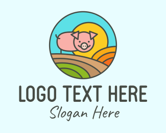 Hog Raising - Colorful Hog Raising Farm logo design