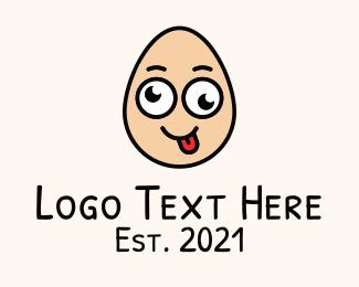 Funny - Cute Silly Egg logo design
