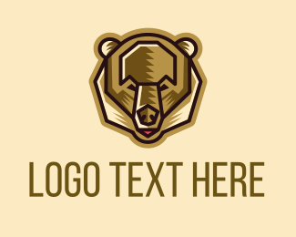 Minimalist Brown Bear Logo Maker