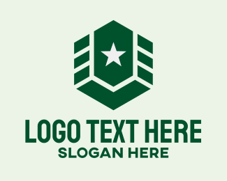 Soldier - Military Army Star Hexagon logo design