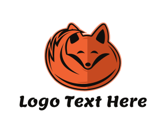 Sleep - Sleepy Orange Fox logo design