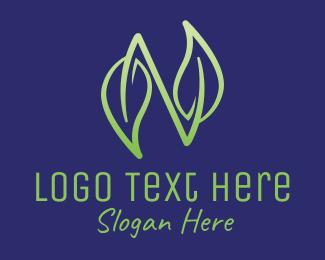 Herbs - Leaf Letter N logo design