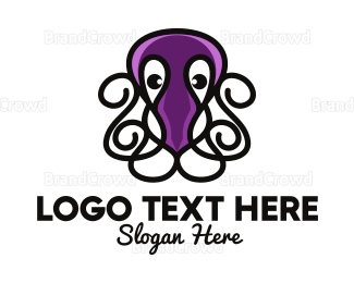 Aquarium - Violet Octopus Tentacles logo design