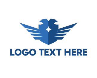 Birds - Blue Double Falcon logo design