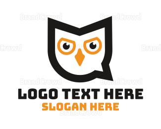 Language - Owl Chat logo design