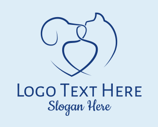 Pets - Heart Dog Cat Pets  logo design