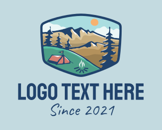 Campgrounds - Mountain Campsite Badge logo design