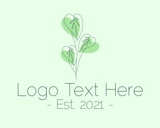 House Plant - Leaf Plant Outline logo design