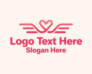 Matchmaking - Pink Heart Wings logo design